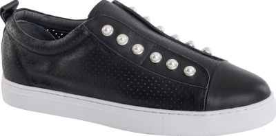 Classic lace-free perforated black neaker with white pearl detail.