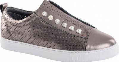Classic Pewter perforated lace-free sneaker with pearl detail